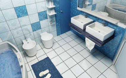 Ванная в сине-белом