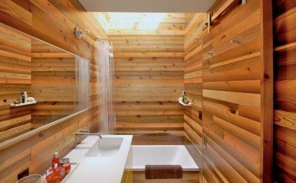 Деревянная вагонка в ванной