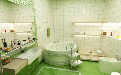 Зеленая плитка в интерьере